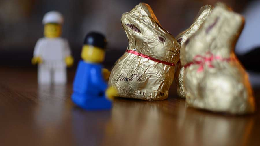 legomen talking about continuous improvement to chocolate rabbits.